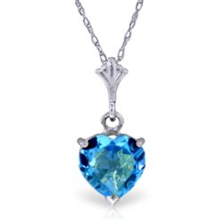 ALARRI 1.15 CTW 14K Solid White Gold Lafayette Blue Topaz Necklace