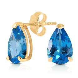 ALARRI 3.15 Carat 14K Solid Gold Stud Earrings Natural Blue Topaz
