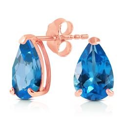 ALARRI 3.15 CTW 14K Solid Rose Gold Stud Earrings Natural Blue Topaz