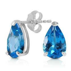 ALARRI 3.15 Carat 14K Solid White Gold Stud Earrings Natural Blue Topaz