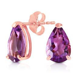 ALARRI 3.15 Carat 14K Solid Rose Gold Stud Earrings Natural Amethyst