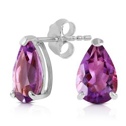 ALARRI 3.15 CTW 14K Solid White Gold Stud Earrings Natural Amethyst