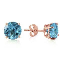 ALARRI 3.1 Carat 14K Solid Rose Gold Anna Blue Topaz Stud Earrings
