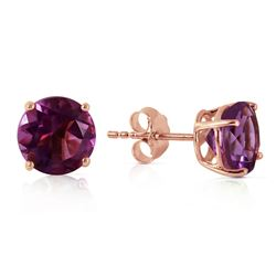 ALARRI 3.1 Carat 14K Solid Rose Gold Anna Amethyst Stud Earrings