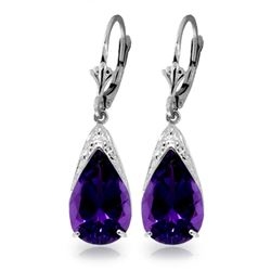 ALARRI 10 CTW 14K Solid White Gold Leverback Earrings Natural Amethyst