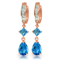 ALARRI 5.62 Carat 14K Solid Rose Gold Blue Topaz Dangling Hoops