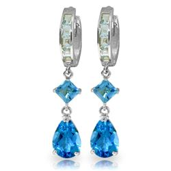 ALARRI 5.62 Carat 14K Solid White Gold Glint In Your Eyes Blue Topaz Earrings