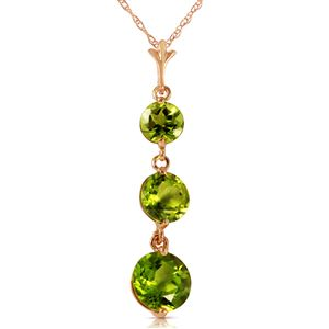 ALARRI 3.6 CTW 14K Solid Rose Gold Necklace Natural Peridot