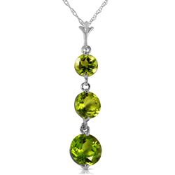 ALARRI 3.6 Carat 14K Solid White Gold Necklace Natural Peridot