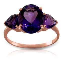 ALARRI 4 Carat 14K Solid Rose Gold Bounty Purple Amethyst Ring