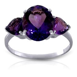 ALARRI 4 Carat 14K Solid White Gold Duress Amethyst Ring