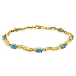ALARRI 2.16 Carat 14K Solid Gold Tennis Bracelet Diamond Blue Topaz
