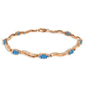 ALARRI 14K Solid Rose Gold Tennis Bracelet w/ Diamonds & Blue Topaz