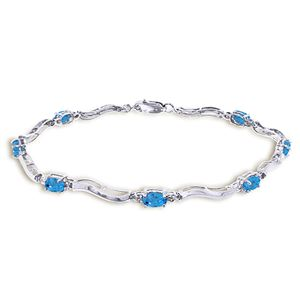 ALARRI 2.16 Carat 14K Solid White Gold Tennis Bracelet Diamond Blue Topaz