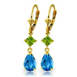 ALARRI 4.5 CTW 14K Solid Gold Leverback Earrings Peridot Blue Topaz