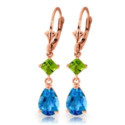 ALARRI 4.5 Carat 14K Solid Rose Gold Leverback Earrings Peridot Blue Topaz