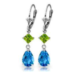ALARRI 4.5 Carat 14K Solid White Gold Leverback Earrings Peridot Blue Topaz