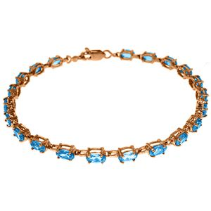 ALARRI 14K Solid Rose Gold Tennis Bracelet w/ Blue Topaz