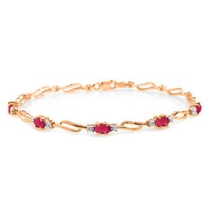 ALARRI 14K Solid Rose Gold Tennis Bracelet w/ Rubies & Diamonds