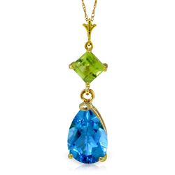 ALARRI 2 CTW 14K Solid Gold Fresh Waters Blue Topaz Peridot Necklace