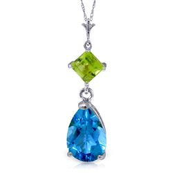 ALARRI 2 CTW 14K Solid White Gold Roll In The Grass Blue Topaz Peridot Necklace