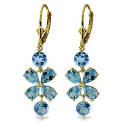 ALARRI 5.32 Carat 14K Solid Gold Chandelier Earrings Natural Blue Topaz