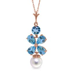 ALARRI 14K Solid Rose Gold Necklace w/ Blue Topaz & Pearl