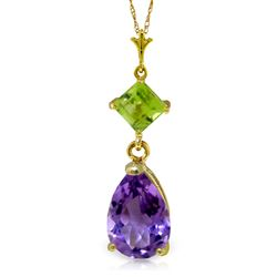 ALARRI 2 Carat 14K Solid Gold Necklace Purple Amethyst Peridot