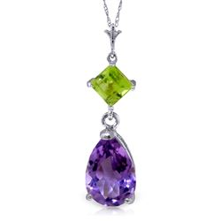 ALARRI 2 CTW 14K Solid White Gold Necklace Purple Amethyst Peridot