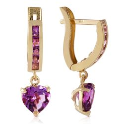 ALARRI 3.2 Carat 14K Solid Gold V-shape Hoop Earrings Heart Amethyst