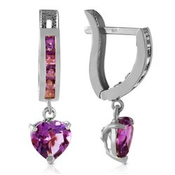 ALARRI 3.2 Carat 14K Solid White Gold V-shape Hoop Earrings Heart Amethyst