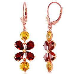 ALARRI 5.32 Carat 14K Solid Rose Gold Chandelier Earrings Citrine Garnet