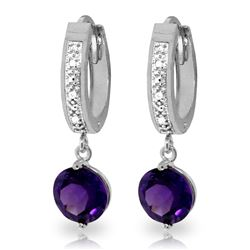 ALARRI 2.63 Carat 14K Solid White Gold Daisy Amethyst Diamond Earrings
