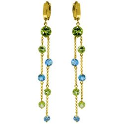 ALARRI 8.99 Carat 14K Solid Gold Chandelier Earrings Peridot Blue Topaz