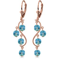ALARRI 4.95 Carat 14K Solid Rose Gold Blue Topaz Drop Earrings