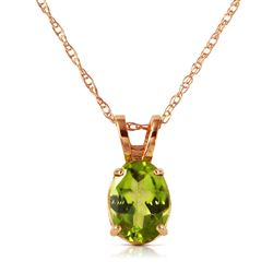 ALARRI 0.85 Carat 14K Solid Rose Gold Solitaire Peridot Necklace