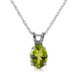 ALARRI 0.85 Carat 14K Solid White Gold Fit For A Queen Peridot Necklace