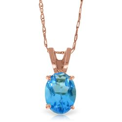 ALARRI 0.85 Carat 14K Solid Rose Gold Solitaire Blue Topaz Necklace