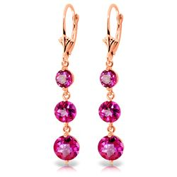 ALARRI 7.2 Carat 14K Solid Rose Gold Chandelier Earrings Pink Topaz