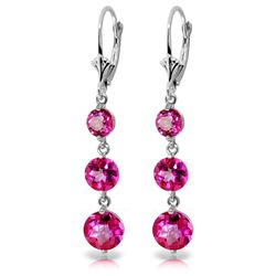 ALARRI 7.2 Carat 14K Solid White Gold Chandelier Earrings Pink Topaz