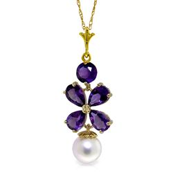 ALARRI 3.65 Carat 14K Solid Gold Persephone Amethyst Pearl Necklace