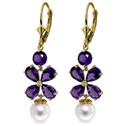 ALARRI 6.28 CTW 14K Solid Gold Chandelier Earrings Amethyst Pearl