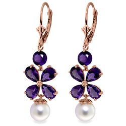 ALARRI 6.28 Carat 14K Solid Rose Gold Chandelier Earrings Amethyst Pearl