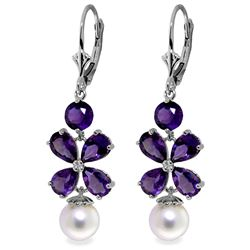 ALARRI 6.28 CTW 14K Solid White Gold Chandelier Earrings Amethyst Pearl