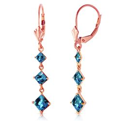 ALARRI 4.79 CTW 14K Solid Rose Gold Square Blue Topaz Drop Earrings