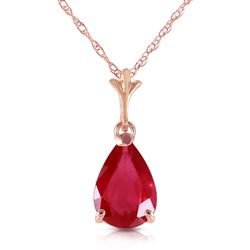 ALARRI 1.75 Carat 14K Solid Rose Gold Pear Ruby Necklace