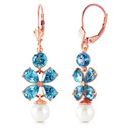 ALARRI 6.28 Carat 14K Solid Rose Gold Chandelier Earrings Blue Topaz Pearl