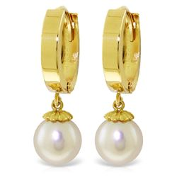 ALARRI 4 Carat 14K Solid Gold Hoop Earrings Natural Pearl