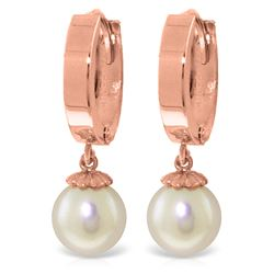 ALARRI 4 CTW 14K Solid Rose Gold Hoop Earrings Natural Pearl