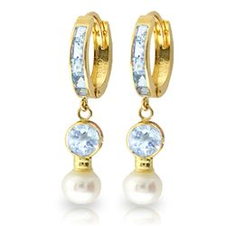 ALARRI 4.3 CTW 14K Solid Gold Hoop Earrings Pearl Aquamarine